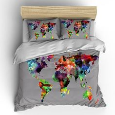 Watercolor world map custom bedding toddler tw qu or ki and shams custom bedding duvet cover watercolors on grey world map tw qu or ki pricing starts shams gumiabroncs Gallery