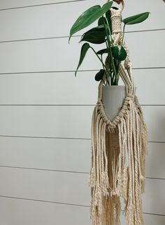 Excited to share this item from my shop: fringed boho macrame plant hanger Photo Canvas, Gold Hoops, Plant Hanger, Flower Power, Wicker, Macrame, Handmade Items, Boho, Plants