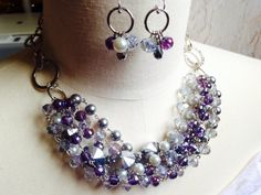 Midnight Purple Necklace Set by HighStrungBeading