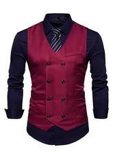 Fashion Double Breasted cotton Suit Vest Men 2018 Spring New Sleeveless Vest Waistcoat Mens Slim Fit Wedding Business Vests-ivroe Mens Suit Vest, Men's Waistcoat, Mens Suits, Prom Suit Burgundy, Best Suit Brands, Terno Casual, Dress Casual, Formal Dress, Casual Shirt