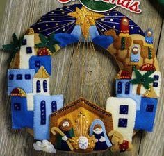 Bucilla Town Of Bethlehem Wreath Felt Christmas Home Decor Kit 86734 Nativity & Garden Felt Christmas, Christmas Home, Christmas Wreaths, Christmas Crafts, Christmas Decorations, Christmas Ornaments, Holiday Decor, Felt Crafts, Diy Crafts