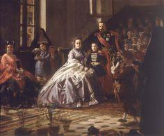 Eugenia de Montijo, su hijo y el emperador Napoleón III, en un cuadro de Victor Pluyette.