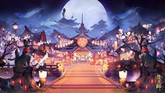Onmyoji - Official Site Chinese Background, Background Drawing, Game Background, Fantasy Places, Fantasy World, Fantasy Landscape, Landscape Art, Anime City, Anime Scenery Wallpaper