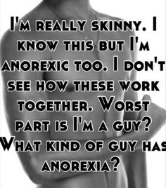 """This is how some men think: """"What kind of guy has anorexia?"""" Yet, we know that 25-40% of individuals with eating disorders are actually male. What are ways we can empower men to speak up when they are struggling with eating disorders and body image issues? How can we increase the likelihood that they will seek help when they recognize there is a problem?"""