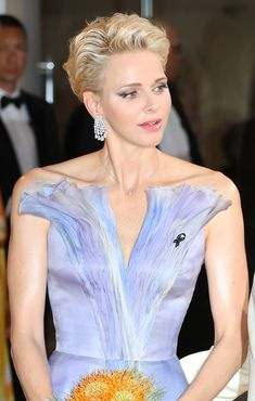 I know fairy princesses don't exist but can we all admit that she kind of looks like a fairy princess?* Princess Charlene Of Monaco Wore The Most Stunning Dress Short Thin Hair, Short Grey Hair, Short Hair With Layers, Short Hair Cuts, Thin Hair Styles For Women, Hair Styles 2016, Medium Hair Styles, Curly Hair Styles, Side Bangs Hairstyles