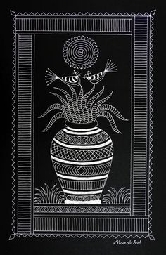 25 New Ideas For Doodle Art Posters Ideas Worli Painting, Doodle Art Posters, Indian Traditional Paintings, Black Paper Drawing, Madhubani Art, Mini Canvas Art, Indian Folk Art, Madhubani Painting, Mural Art