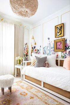 House Beautiful - 50 Kids' Rooms So Cool You'll Wish They Were Yours - Marie Flanigan Interiors Nursery Children's Room; Home Decoration; Home Design Girls Bedroom, Cool Kids Bedrooms, Girl Bedroom Designs, Bedroom Decor, Kids Rooms, Kid Bedrooms, Modern Bedroom, Bedroom Wall, Childs Bedroom