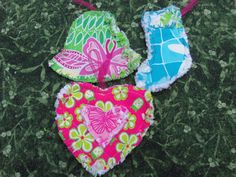 Set of 3 Lilly Pulitzer Rag Quilt Ornaments by dmaeredesigns, $23.00