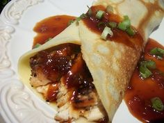 Asian Bourbon Chicken Recipes Grilled Chicken Recipes for Crepes Enjoy Asian Bourbon Chicken Recipes? Try our recipe for bourbon chicken crepes, featuring grilled chicken coated in the worlds best barbecue sauce. Crepe Recipes, Waffle Recipes, Churros, Chicken Crepes, Best Barbecue Sauce, Crepes Filling, Bourbon Chicken, Savory Crepes, Grilled Fruit