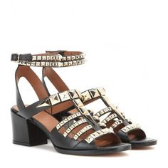 Givenchy Embellished Leather Sandals ($810) ❤ liked on Polyvore