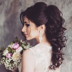 nice Lovely bridal look Make up, hairstyles . Hairdo Wedding, Elegant Wedding Hair, Wedding Hair Down, Wedding Hair And Makeup, Bridal Hair, Trendy Wedding, Hair Makeup, Best Wedding Hairstyles, Elegant Hairstyles