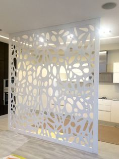 Laser cut metal oak frame partition...one day I will have the perfect space for one of these!