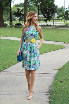Floral and Bright {Fashion, Floss and Lip Gloss} thrifted floral dress, loft jute stretch belt yellow flower, betsey johnson sandals heels, cobalt blue purse, fashion style blogger, spring summer outfit inspiration idea, turquoise, purple