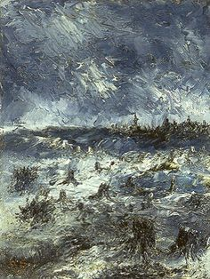 August Strindberg: The burned land, 1892 oil on galvanized sheet metal, 35 x 26 cm. Private collection.