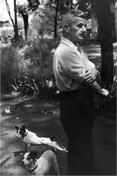 "kvetchlandia:  Henri Cartier-Bresson     William Faulkner, Oxford, Mississippi     1947  ""A man is the sum of his misfortunes. One day you'd think misfortune would get tired, but then time is your misfortune.""  William Faulkner, ""The Sound and the Fury""  1929"