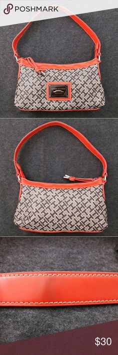 """TOMMY HILFIGER Small Purse ~ Hobo Bag Very Good Condition! Strap top shows little darker orange. Please, view pictures.  Measures about 9"""" x 6"""" x 1.5"""" (+ Strap Drop).  Contact me if you have questions. Smoke/Pet free home. Tommy Hilfiger Bags Hobos"""