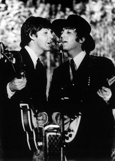 Paul and John on stage in Barcelona, Spain (3 Jul. 1965)