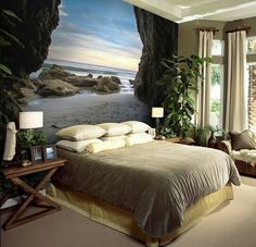 26 Nature Wallpaper Design Ideas For Your Bedroom Bedroom Murals, Bedroom Wall, Bedroom Decor, Floor Murals, Wall Murals, Wall Design, House Design, Cool Walls, Wall Wallpaper
