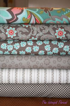 color palette - brown/grey + turq/teal, pops of coral Estilo Shabby Chic, Quilt Material, Fabric Combinations, Diy Couture, Textiles, Fabulous Fabrics, Fabric Patterns, Fabric Crafts, Fabric Design