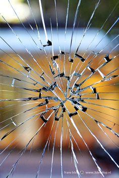 Radial pattern in a broken window