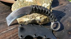 "Custom order Wrench Knife Karambit with 3"" Tanto blade includes kydex sheath from Ravenstagdesign.com $80"