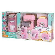 Playgo - Gourmet Kitchen Appliance Set (Pink) Realistic Sounds and Lights, Includes Coffee Maker, Mixer and Blender Kitchen Sets For Kids, Kids Play Kitchen, Toy Kitchen, Kitchen Appliances, Little Girl Toys, Baby Girl Toys, Toys For Girls, Kids Toys, Disney Princess Room
