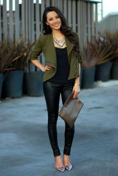 Stylish Ways to Wear Leather Trousers Woman's Fall Fashion Trends 2014 Use Kwik Sew 3764 and a light fall wool for a moto jacket like this one.Woman's Fall Fashion Trends 2014 Use Kwik Sew 3764 and a light fall wool for a moto jacket like this one. Mode Outfits, Night Outfits, Fall Outfits, Casual Outfits, Fashion Outfits, Women's Casual, Blazer Outfits, Night Out Outfit Classy, Casual Date Night Outfit