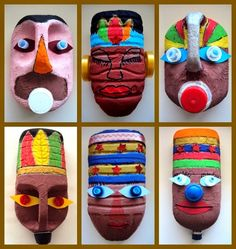 Masks from plastic bottles Kids could make these masks to go with our Ancient Civilizations unit.africké masky z plastových obalů Recycled Art Projects, Projects For Kids, Diy For Kids, Crafts For Kids, Recycled Furniture, Modern Furniture, Furniture Design, Plastic Bottle Crafts, Plastic Art