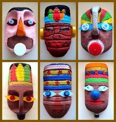 Masks from plastic bottles Kids could make these masks to go with our Ancient Civilizations unit.africké masky z plastových obalů Plastic Bottle Crafts, Plastic Art, Plastic Bottles, Recycled Art Projects, Projects For Kids, Diy For Kids, Recycled Furniture, Modern Furniture, Furniture Design