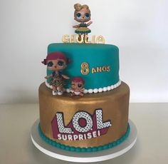 LOL Surprise Dolls Birthday Cake! Cake colors are inspired by LUXE and LUXE is on top of the 2-tier Cake