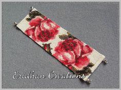 Blooming Roses bracelet  peyote pattern