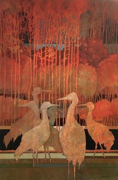 Autumn Gathering by Judith Bergerson  acrylic/colored pencil on 20″x30″ canvas