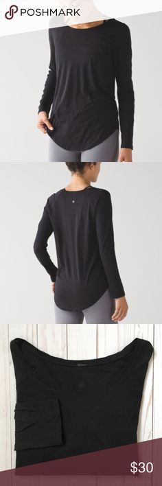 Lululemon Locarno Long Sleeve Tee Black Medium* -Black -Thin knit -Rounded hem, longer in center -Hole on front bottom of shirt -Frayed area on left seam -Naturally breathable Pima Modal fabric feels oh-so-soft and cozy against your skin -Style Number: W3ADPS -Size tag has been removed so please refer to measurements for fit. Measurements while laying flat:  -Underarm to Underarm: 19 inches -Length (Bottom of collar to hem): 26inches -Underarm to cuff: 18.25 inches -No stains Please refer to…