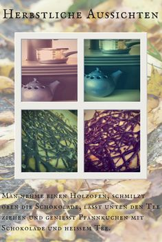 Holzofen mit Tee und Schokolade mit Pfannkuchen im Herbst; Autumn at its best: Tea, Chocolate and Pancakes