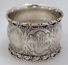 American Coin Silver Engine Turned Napkin Ring 1860