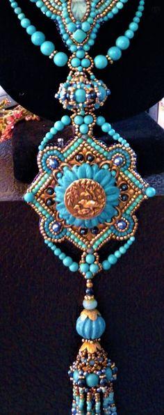 Kiowa Rose Beads- Vintage metals, Turquoise beads and flower with Art Nouveau buttons. Kiowarose.com or kiowarosebeads.etsy.com
