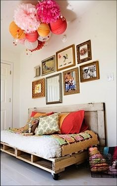 wood palette on wheels for teen bed