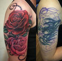 Flower Cover Up Tattoos, Rose Tattoo Cover Up, Dark Roses Tattoo, Rose Drawing Tattoo, Black Tattoo Cover Up, Rose Tattoos, Body Art Tattoos, Sleeve Tattoos, Arm Tattoo