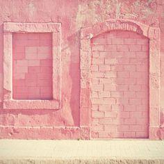 Pink brick rustic wall