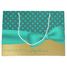 Chic Aqua and Gold Pattern Custom Gift Bag Large Gift Bag