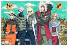Kakashi Minato Jiraya Hiruzen Naruto - ( 34 x 22 inch ) Glossy Poster Naruto Kakashi, Anime Naruto, Naruto Shippuden, Art Naruto, Anime Echii, Naruto Teams, Sarada Uchiha, Boruto, Hinata