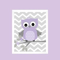 ***** FRAMES ARE NOT INCLUDED****   ITEM DETAILS:  Gray and Lavender Owl on Tree Branch on Gray Chevron.  These Prints can be personalized and
