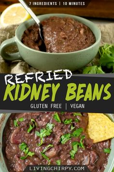A simple and easy Homemade Mexican Refried Red Kidney Beans recipe from scratch. Only 7 Simple Ingredients and 10 Minutes needed. Red Kidney Beans Recipe, Mexican Beans Recipe, Kidney Recipes, Mexican Food Recipes, Chili Recipes, Vegan Bean Recipes, Vegetarian Recipes, Cooking Recipes, Healthy Recipes