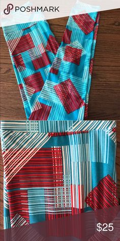 New Fun Bright LuLaRoe Leggings NWOT Bright spring OS leggings! Light and medium blue, cream and red lines and squares.   💜All sales are going towards college tuition for the spring semester! I am majoring in Elementary Education and I love it! Thanks so much for helping me reach my goal of becoming a Kindergarten teacher LuLaRoe Pants Leggings