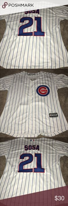 Women's Chicago Cubs Sammy Sosa jersey (Large) Women's Chicago Cubs Sammy Sosa Majestic Athletic home jersey. Brand new with tags, fully embroidered, size Large. Check my other listings for more Cubs merchandise, including jerseys for Men, Women and Kids! Majestic Tops Button Down Shirts