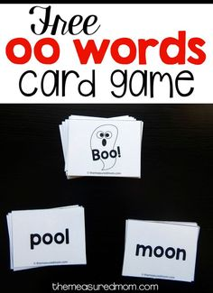 This free card game is a great oo words activity!