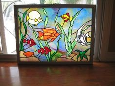 stained glass aquarium | Stained Glass Aquarium Picture Framed by FancyGlassAct on Etsy, $200 ...