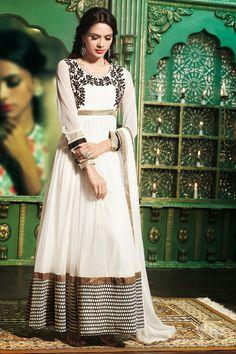 USD 172.85 Off White Net Kalidar Ankle Length Anarkali Suit 39996