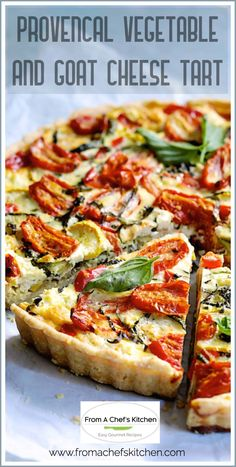 Provencal Vegetable and Goat Cheese Tart is a lovely way to enjoy all the best summer produce with elegant French flair! Layers of summer vegetables, fresh herbs and tangy goat cheese fill a buttery crust in this Provencal-inspired savory tart. It's the perfect way to enjoy a culinary getaway to sunny, beautiful southern France! #french #frenchfood #vegetabletart #vegetable #goatcheese #provencal Entree Recipes, Tart Recipes, Vegan Recipes Easy, Brunch Recipes, Veggie Recipes, Summer Recipes, Gourmet Recipes, Vegetarian Recipes, Appetizer Recipes