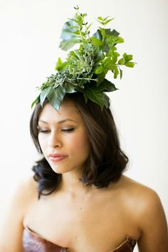 Sweet Pea Floral Design Ann Arbor Wedding Florist green woodland headpiece botanical hat with succulents herbs and tropicals from franciose weeks workshop (First Comes Love Photography)